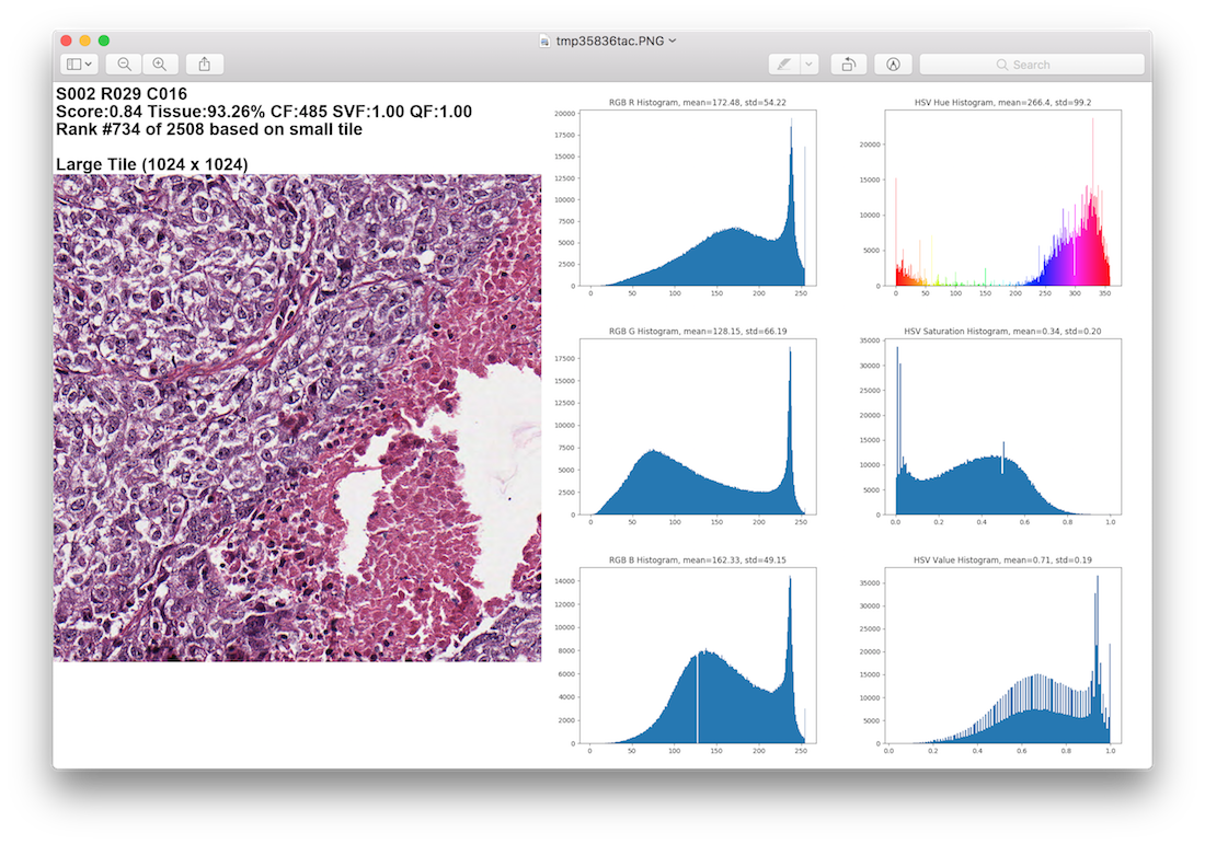 Large Tile Color Histograms