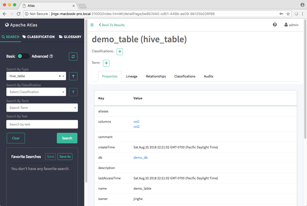 screen capture of the creation of demo_table hive_table