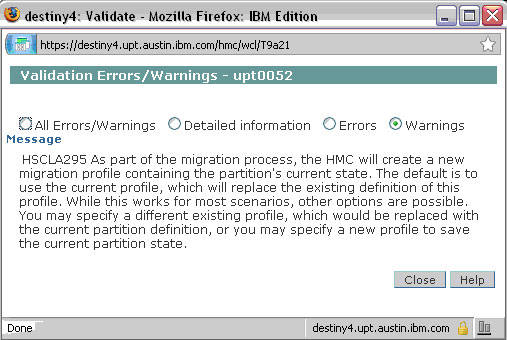 Screen shot showing that Validation passed with general warning message