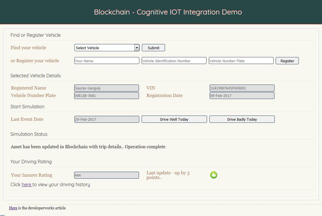 Use vehicle sensor data to execute smart transactions in Blockchain