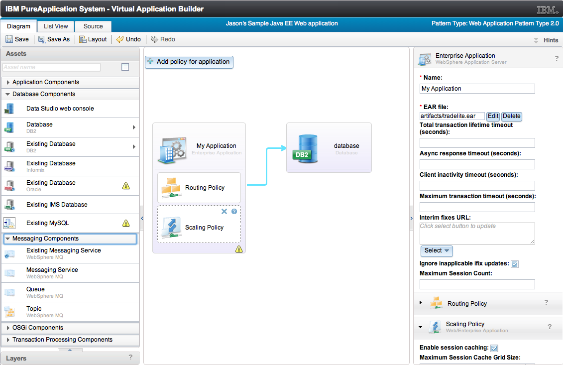 Screen shot of PureApplication showing a pattern-based application