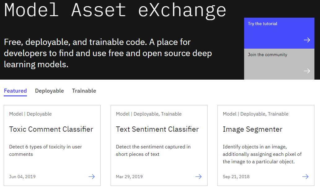 Model Asset Exchange landing page on IBM Developer