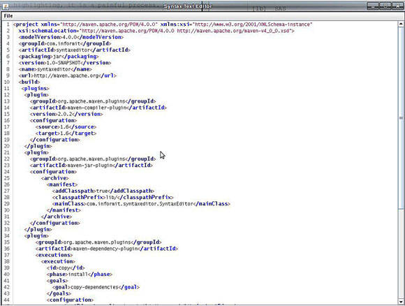 A screen capture of the RSyntaxTextArea component displaying an XML file.