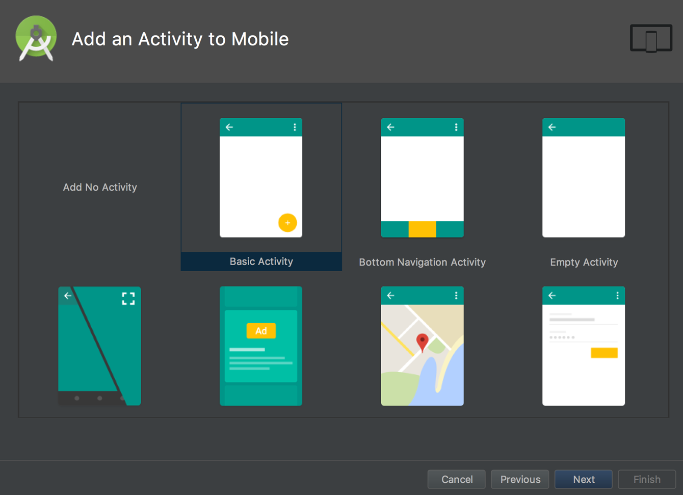 Jump start the application by adding an activity