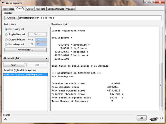 Screenshot shows the summary report from WEKA's linear regression model