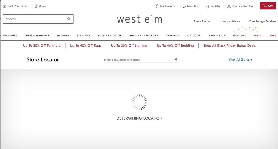 West Elm website's store locator using geolocation