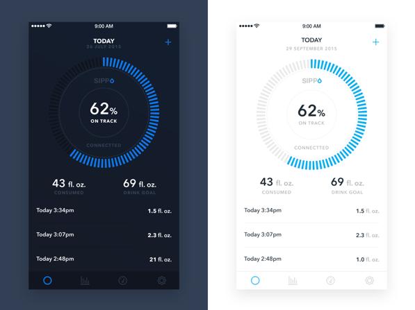 Screenshots showing darker versus lighter UIs on mobile devices for high light scenarios