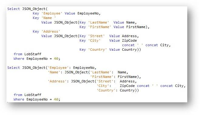 Generate a nested JSON object with employee data