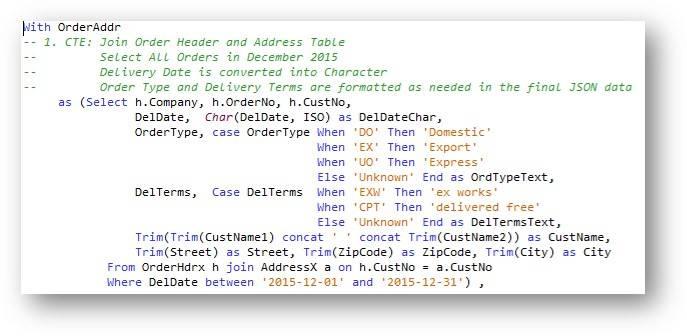 CTE – Order header and address information