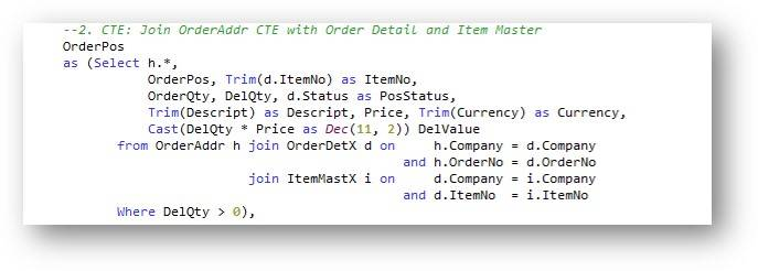 CTE – Order detail and item master information