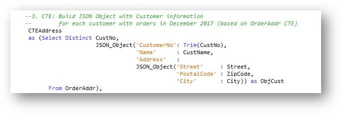CTE – Generating address information JSON data