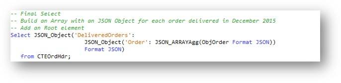 Final SELECT – Accumulating the order data