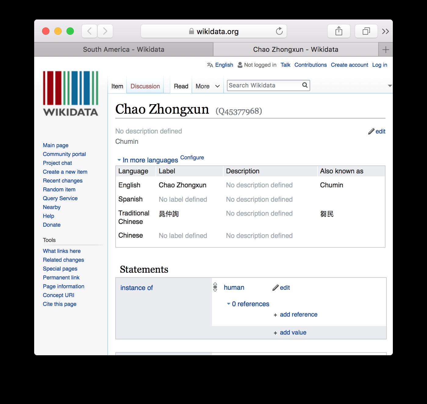 Wikidata page for Chao Zhongxun