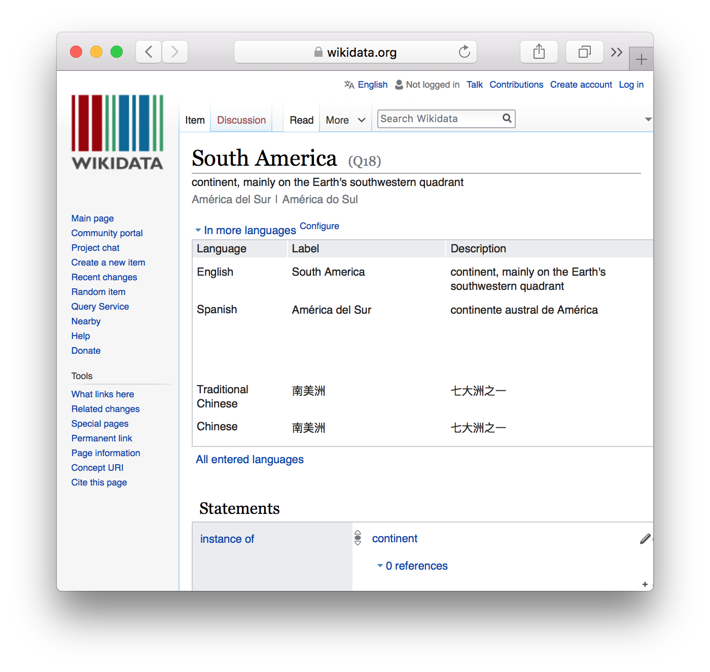 Wikidata page for South America