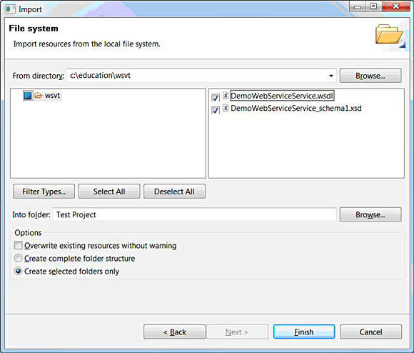 Import from file system