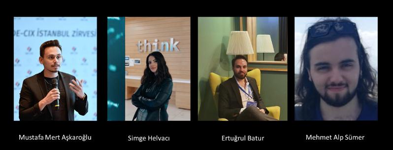 Our hackathon team: Mehmet Alp Sümer, Simge Helvaci, Ertugrul Batur, and Mustafa Mert Askaroglu