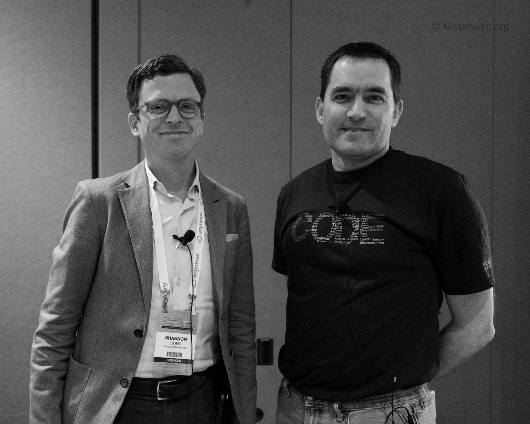 Shannon Coen (Pivotal) and Doug Davis (IBM), two of the leaders for the Open Service Broker APIs extraction