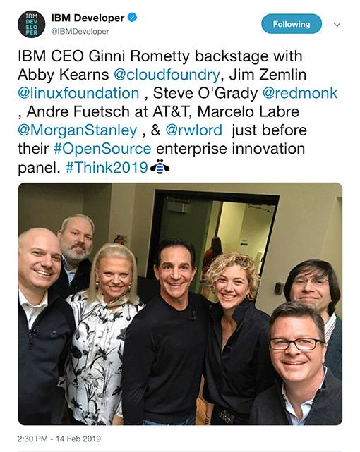 IBM CEO Ginni Rometty with open source leaders