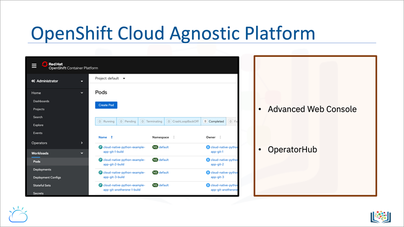 Screen capture of the OpenShift (as a) Cloud Agnostic (application) Platform slide, which represents a walk-through of the OpenShift Advanced Web Console and OperatorHub service catalog.