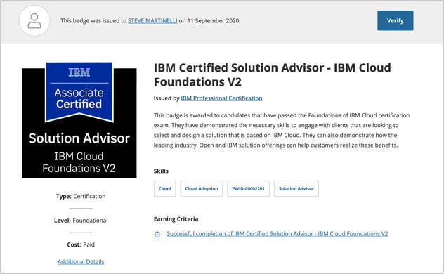 Screen capture of an example IBM Cloud Foundations V2 certification notice