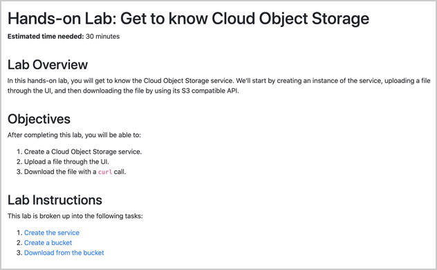 Screen capture of the introductory slide for the Hands-on Lab: Get to know cloud object storage, with Lab overview, Objectives, and Lab instructions sections.