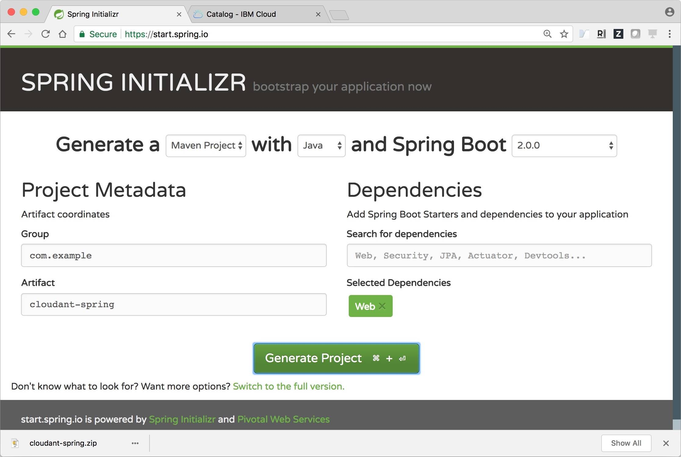 Use the Cloudant Spring Boot Starter to