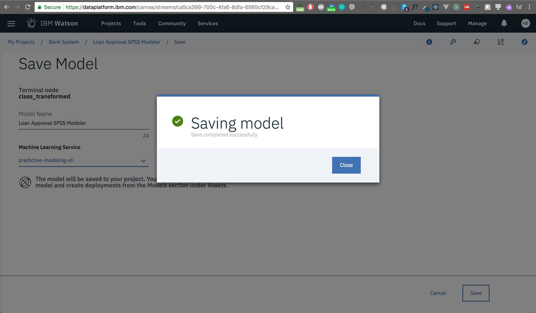 save model: Success