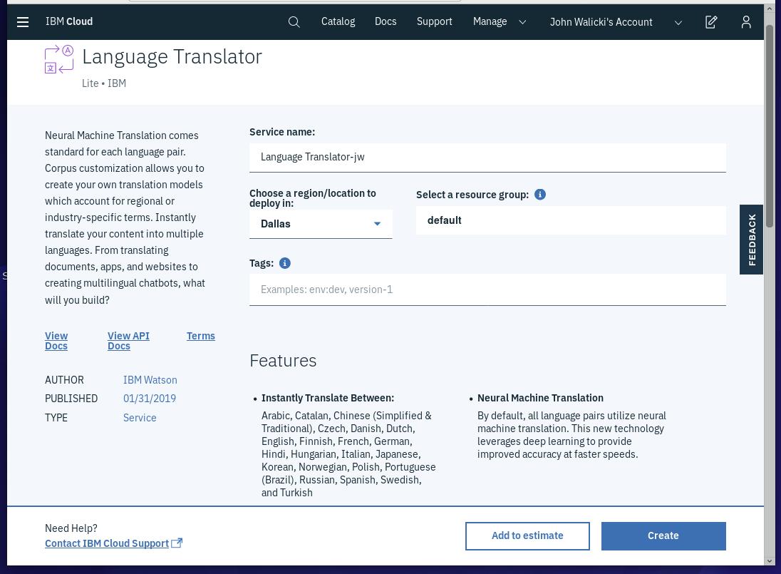 Create Language Translator