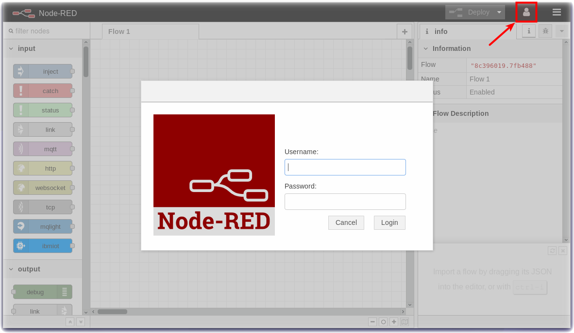 Login to the Node-RED visual editor