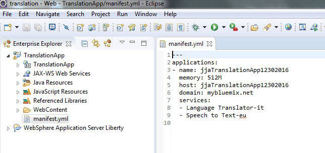 Create a translation application by using Watson services, Eclipse