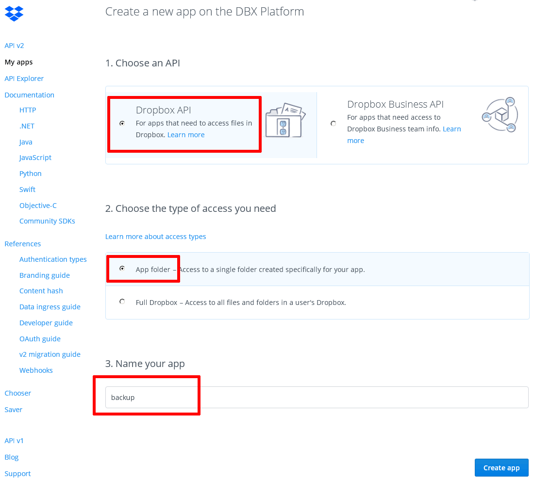Dropbox application creation