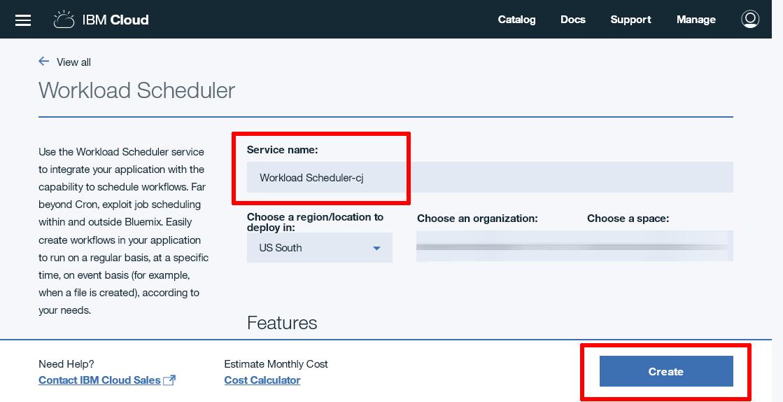 Workload Scheduler instance creation