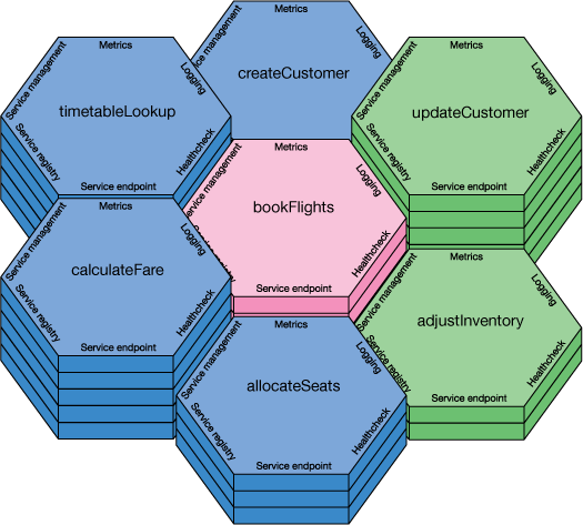 Illustration showing a conceptual view of microservices, with naming and interaction principles defined