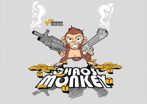 Image of a cloud application component, coined Chaos Monkey, used to introduce systematic chaos into application operations.