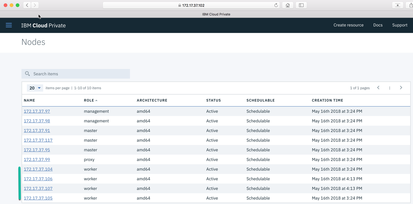 New nodes in IBM Cloud Private console