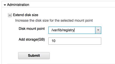 Specifying storage size