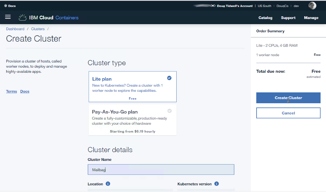 The cluster creation panel
