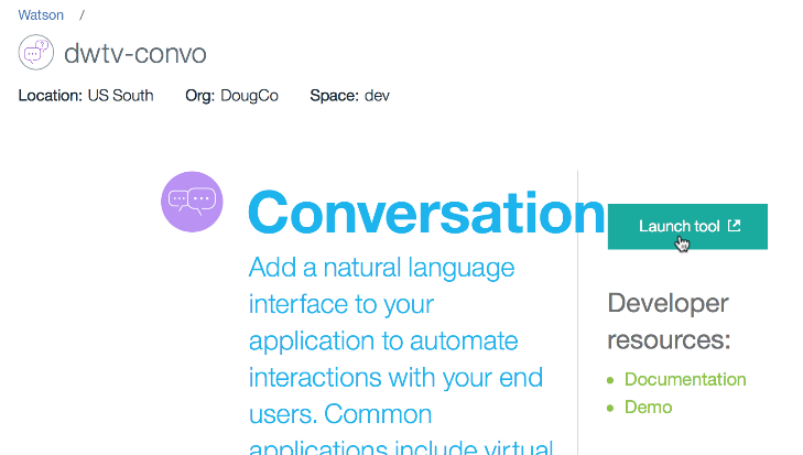 The management screen for the conversation service