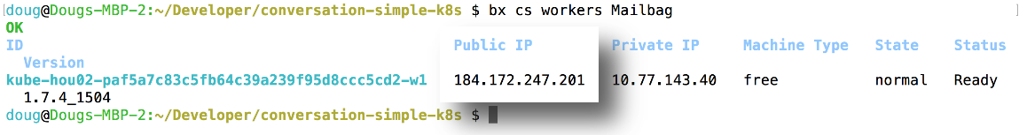 The IP address of the Kubernetes cluster