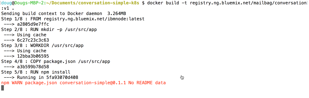 Starting the Docker build command