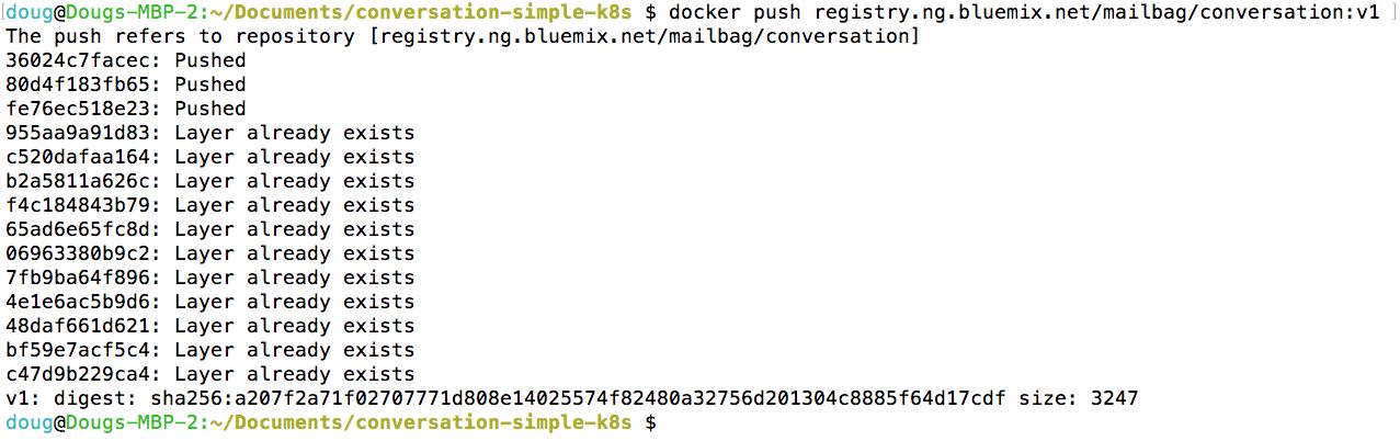 Pushing a Docker image to the IBM Cloud
