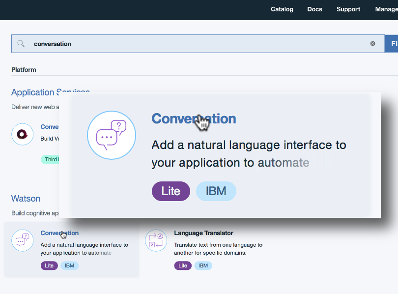 The Watson Conversation service in the IBM Cloud catalog