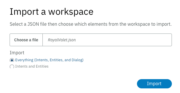 Importing a workspace
