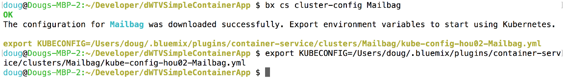 Defining the KUBECONFIG environment variable