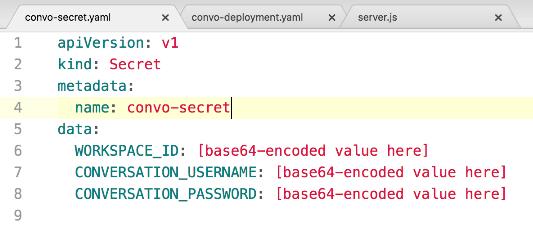 The initial convo-secret.yaml file