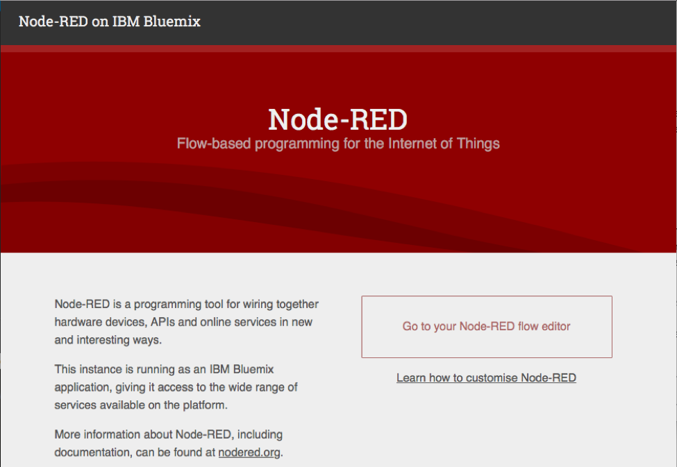 Node-RED's main page