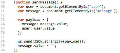 Code to send a new message