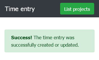 Result of adding a time entry