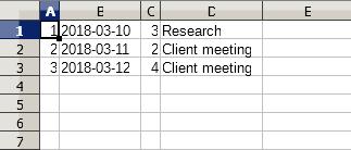CSV output example