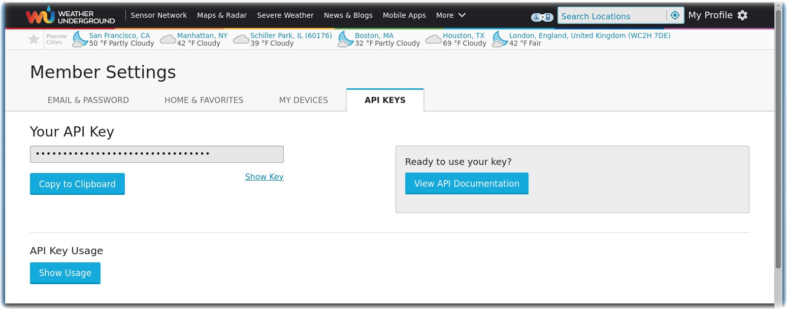 Weather Underground API Key